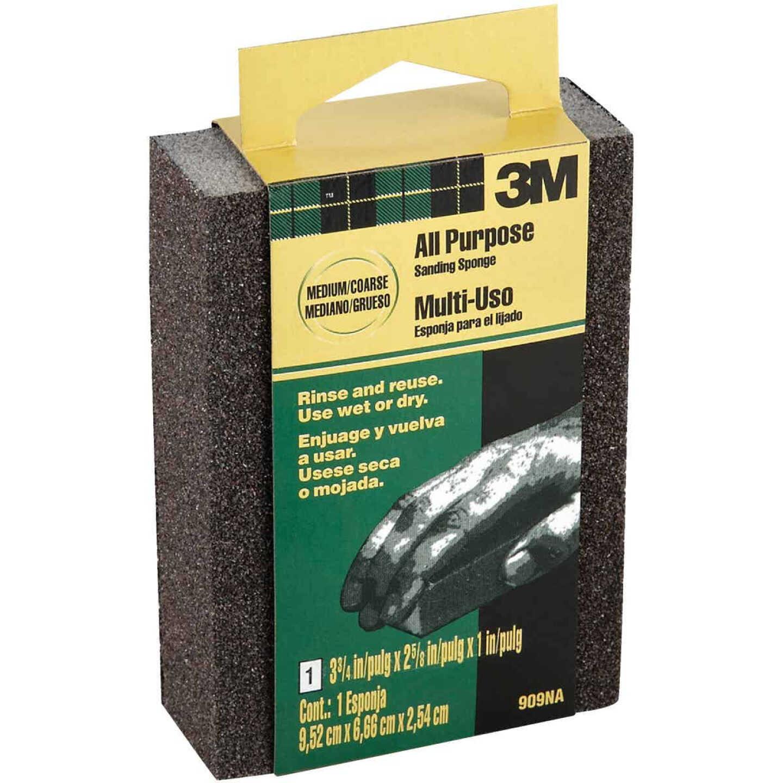 3M All-Purpose 2-5/8 In. x 3-3/4 In. x 1 In. Medium/Coarse Sanding Sponge Image 1