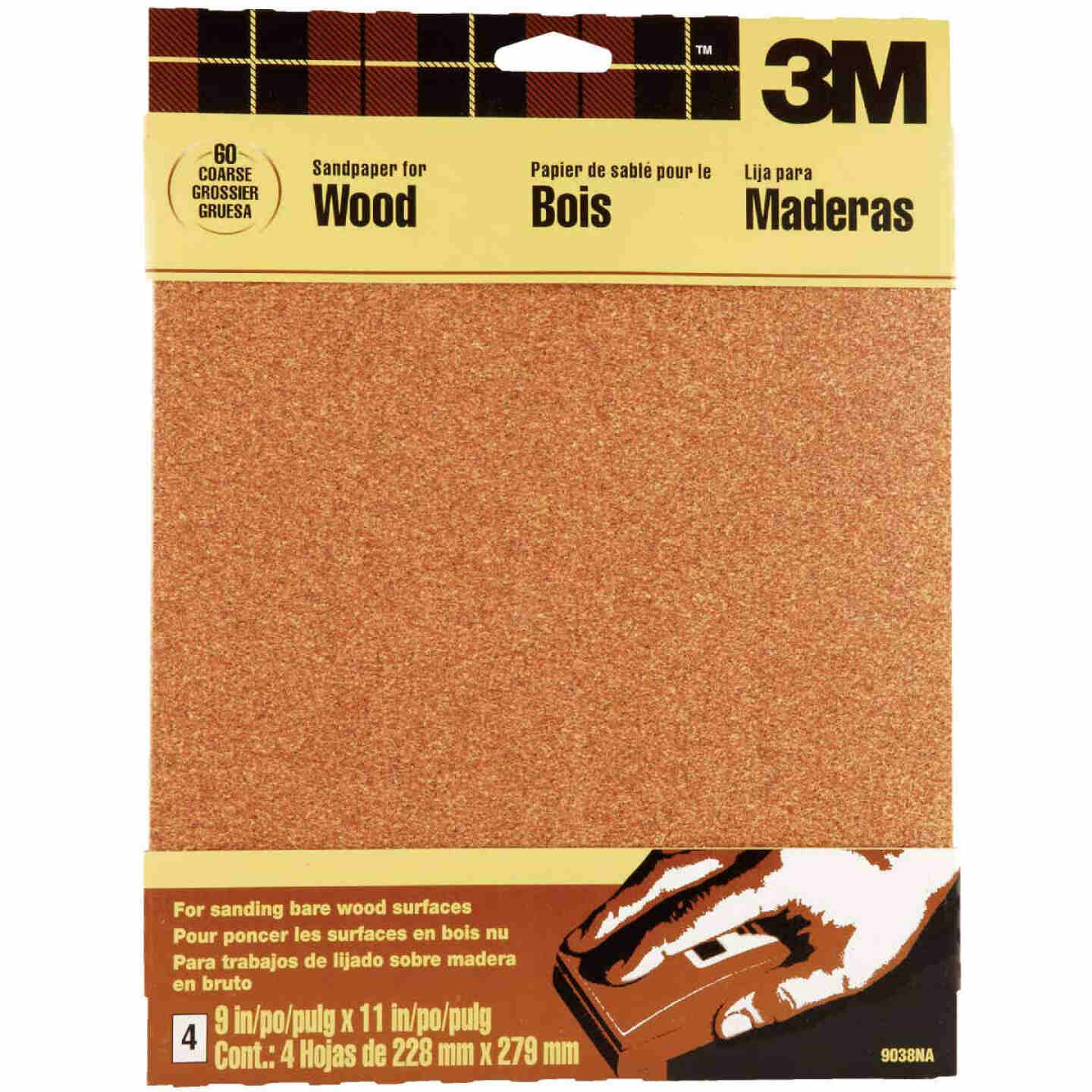 3M Bare Wood 9 In. x 11 In. 60 Grit Coarse Sandpaper (4-Pack) Image 1
