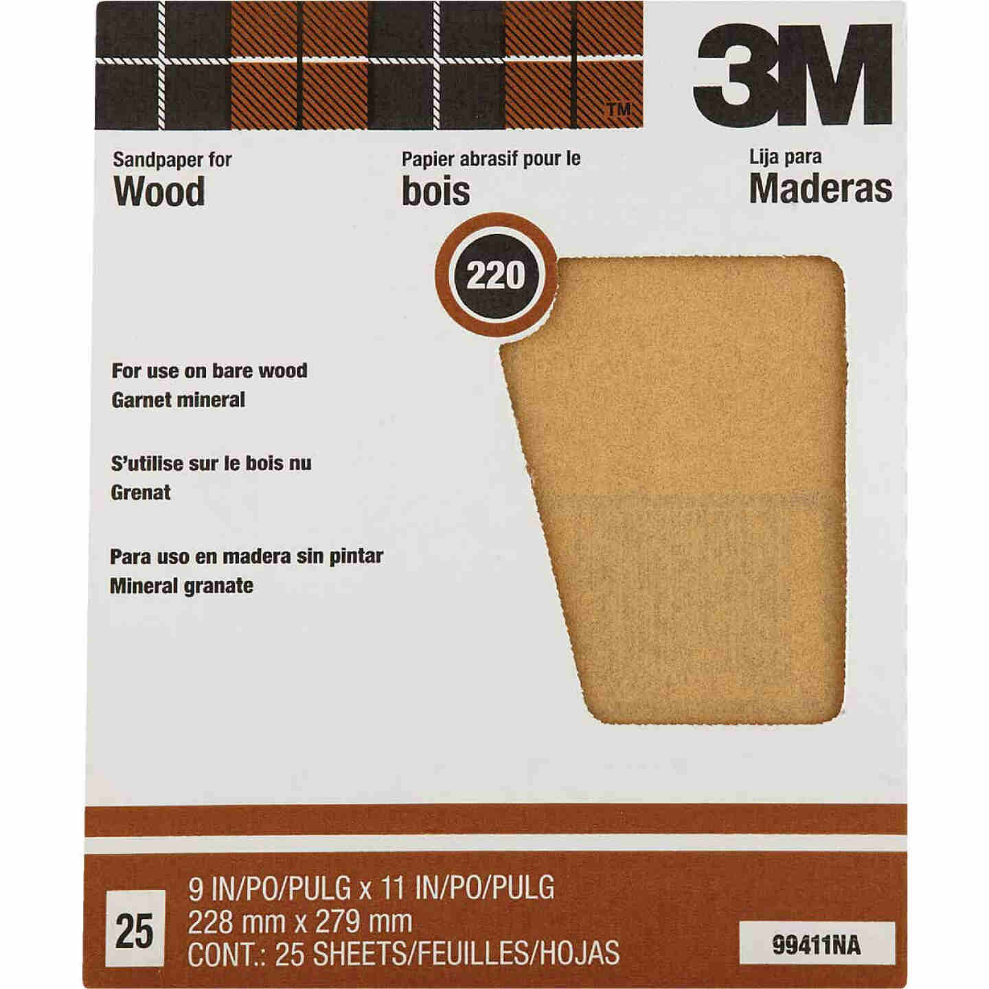 3M Pro-Pak Wood Surfaces 9 In. x 11 In. 220 Grit Very Fine Sandpaper (25-Pack) Image 1