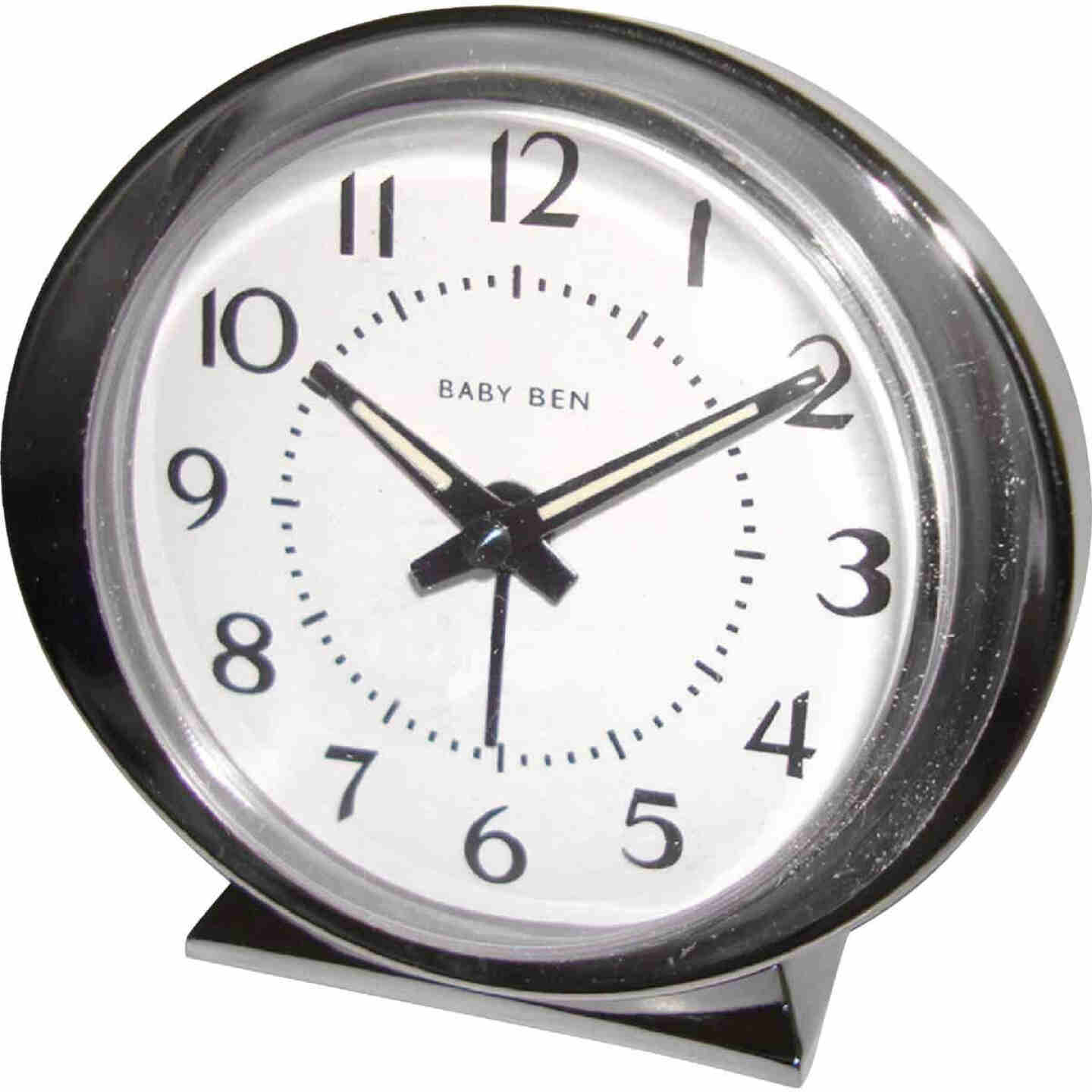 Westclox Baby Ben Silver Classic Style Battery Operated Alarm Clock Image 1